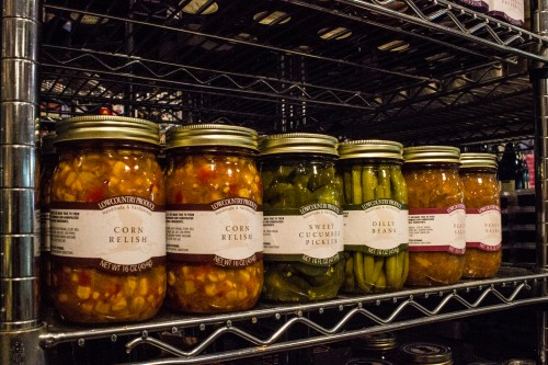 Low Country Products: corn relish, pickles and dilly beans at The Gourmet Shop in Five Points