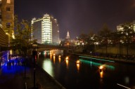 The Waterfire extends across the downtown.