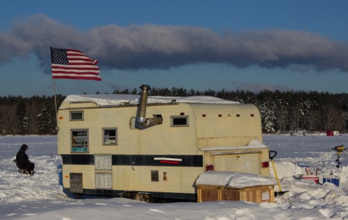 This bob-house just had to be photographed.  Many of them sported flags.