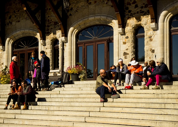 Resting on the Steps of the Chateau