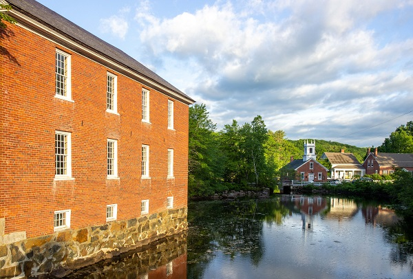 harrisville, nh, mill, pond, reflection